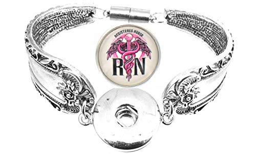 Body Accentz Snap Bracelet Antique Silver Color Magnetic Clasp Spoon Flower Carved Bracelet Fits Snap Buttons (RN)