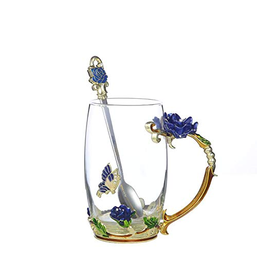Handicraft Crystal Glass 3D Flower Cups Tea Mug With Tea Spoon Women Coffee, Tea, Juice, Beer, Milk Hot And Cold Drinks Use Gift. (Rose Blue High Coffee Cup, 12 oz)