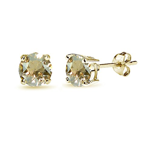 (Yellow Gold Flashed Sterling Silver 6mm Golden Shadow Round Solitaire Stud Earrings Made with Swarovski Crystals)