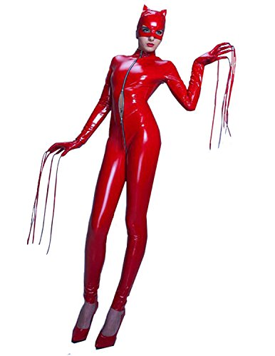 Red Catsuit Costumes (Quesera Women's Catsuit Bodysuit Full Body One Piece Zip Up Front Catwoman Costume, Red, TagsizeM=USsizeXS)