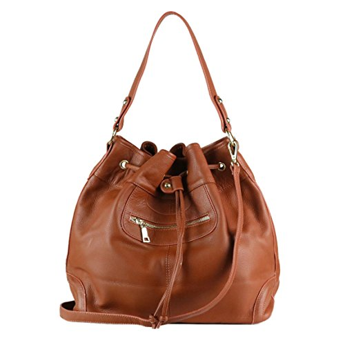 Concealed Carry Purse - The Elissa Drawstring Bucket Purse by Miss Conceal (Cognac) by Miss Conceal