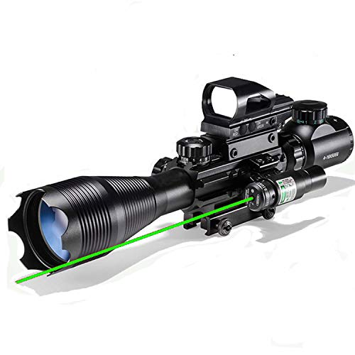 Hunting Rifle Scope Combo C4-16x50EG Dual Illuminated with Green Laser sight and 4 Holographic Reticle Red Green Dot for 22mm Weaver Rail Mount Green Laser