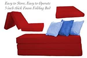 THE FUTON SHOP 5 INCH SLEEPER CHAIR FOLDING FOAM BEDS CUSHION TWIN RED
