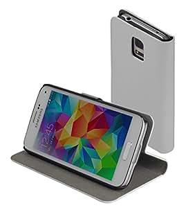 Yayago flip stand carcasa, con taschini para Samsung S5Mini funda de cierre magnético blanco
