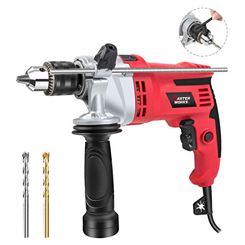 "- Hammer Drill, 7.0A 1/2"" Corded Drill Hammer with Dual Drill Modes, Variable Speed, 360° Rotating Handle for Brick, Wood, Steel, Masonry, 2 Drill Bits Included, Masterworks MEID377"