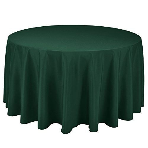 VEEYOO Round Tablecloth 100% Polyester Circular Bridal Shower Table Cloth - Solid Soft Dinner Table Cover for Wedding Party Restaurant (Hunter Green, 132 inch)