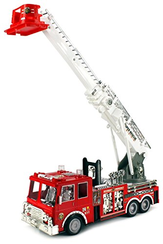 Velocity Toys Super Rescue 24 Hour Fire Remote Control RC Truck Ready To Run w/ Working Siren Lights, Rotating Extending Crane (Rc Car Working Lights compare prices)