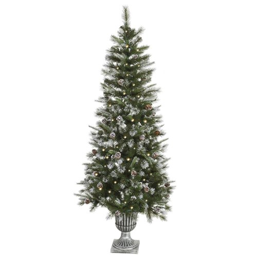 Vickerman Pre-Lit Frosted Country Pine Cone Potted Artificial Christmas Tree with Clear, 6.5' (Pre Lit Potted Christmas Trees)