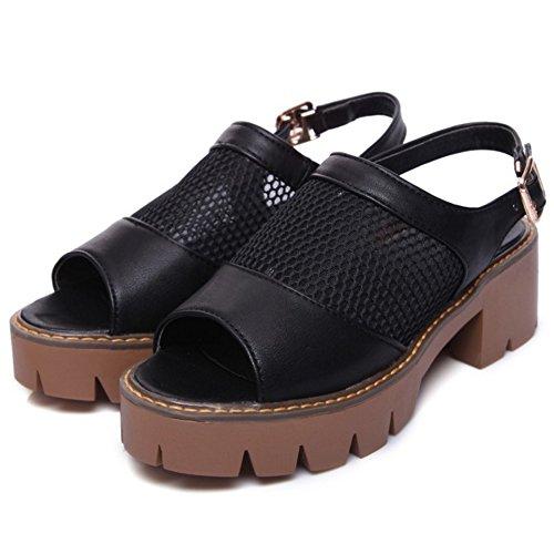 COOLCEPT Women Fashion Slip On Sandals Open Toe Block Heels Slingback Shoes Black cGwQPfd