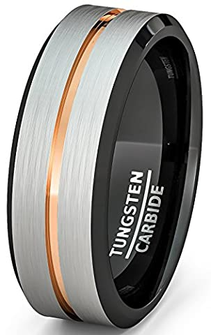 Mens Wedding Band White Brushed with Rose Gold Groove and Black Inside Comfort Fit (9) (Tungsten White Gold Ring)