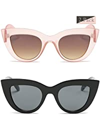 Retro Vintage Cateye Sunglasses for Women Plastic Frame...