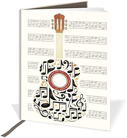 Cuaderno de tapa dura A6 – Diseño de guitarra y notas musicales ...