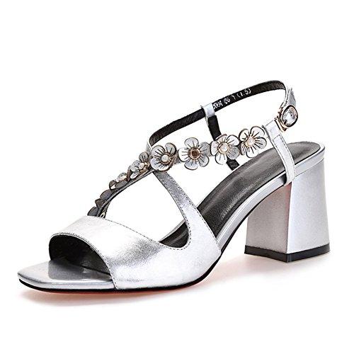 resistentes palabra Una tacón C salvaje zapatos cuero de Verano sexy alto de hebilla sandalias aYqXX0