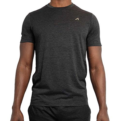 Alive Men's Tee Shirt Active Quick Dry Workout Short Sleeve Shirts Crew Neck (Black Heather, Large)
