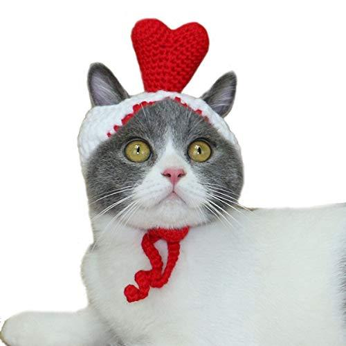 Bonaweite Pet Red Heart Hat, Dog Cat Handmade Knitted Woolen Yarn Cap, Grooming Accessories Apparels Puppy Teddy Cartoon Xmas, Thanksgiving, Valentine's Day ()
