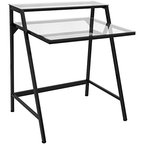 LumiSource Contemporary 2-Tier Desk, Black/Clear Contemporary Two Tier