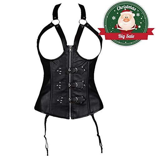 2ffba2eec2 MISS MOLY Faux Leather Corset Vest Plus Size Lingerie Buckle Lacing Steel  Boned