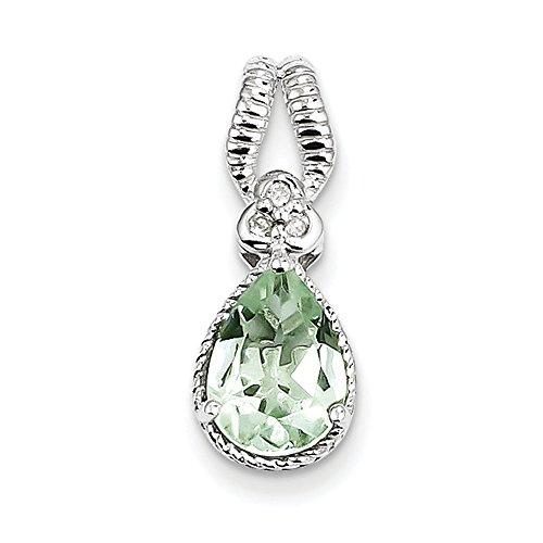Argent Sterling diamant Quartz vert et pendentif JewelryWeb