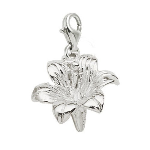 Rembrandt Charms Lily Charm with Lobster Clasp, Sterling Silver