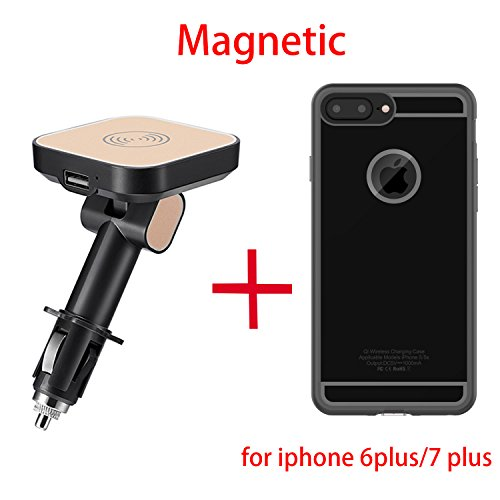 Magnetic Qi Wireless Car Charger Mount Adapter + Charging Receiver Case for iphone 6 Plus/6s Plus/7 Plus + USB Quick Charging Port, Wireless Car Charging Pad Cigarette Charger Aluminum Alloy Magnet Power Socket Mount Vehicle Holder Cradle
