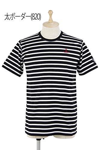 [シナコバ ポルトフィーノ] メンズ 半袖クルーネックTシャツ 丸首 ストレッチ 綿100% ボーダー柄 アンカー刺繍 ゴルフウェア LL(LL) 太ボーダー(820) B07SBMG7WH