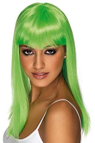 [Smiffy's Women's Long and Straight Neon Green Wig with Bangs, One Size, Glamourama Wig,] (Neon Green Wigs)