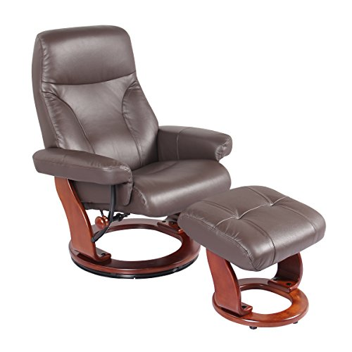 Genuine Leather Chair Swivel Recliner and Ottoman Lounger by Super Nova (Kona Brown)