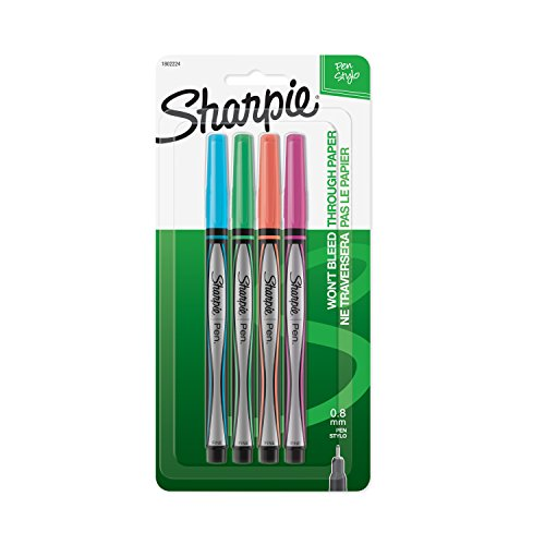 Sharpie Pen Stylo, Fine Point , Assorted Colors, 4-Count
