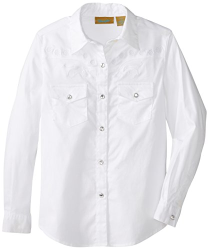 (Wrangler Girls' Long Sleeve Two Flap Pockets Snap Front Shirt, White, X-Large)