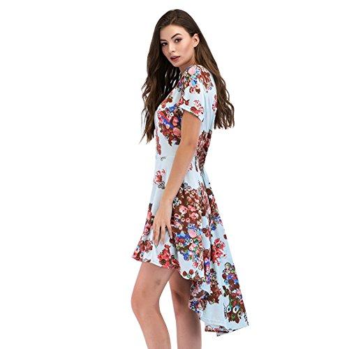 Robe Imprimé Floral Féminin Daxin Été Décontractés Encolure Dégagée Lâche Cou À Manches Courtes Robes Ourlet Irrégulier M-3xl B