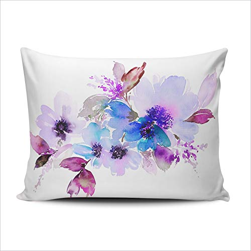 AIHUAW Home Decorative Cushion Covers Throw Pillow Case Flowers Watercolor Pillowcases Standard 20x26 Inches One Sided Printed (Set of 1) (Chair White For Peacock Sale)