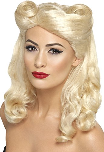[Smiffy's Women's 40's Blonde Pin Up Wig with Victory Rolls, One Size, 5020570432150] (Pin Up Wig)