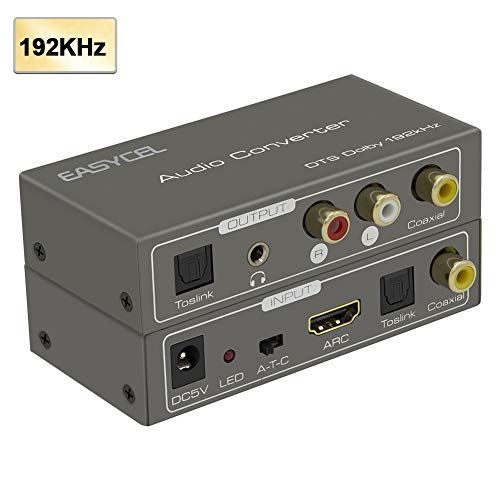 Easycel 192K Multifunction Audio Converter, HDMI ARC Audio Extractor Adapter, Toslink(Optical) or Coaxial or HDMI ARC Input to Coaxial + Toslink(Optical) + Stereo L/R + 3.5mm Jack ()