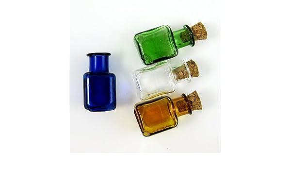 20 x botellas de cristal con tapón de corcho Mini frascos de-surtido de 4 colores SG2: Amazon.es: Hogar