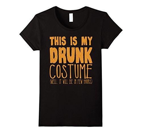 Drunk Halloween (Womens This Is My Drunk Halloween Costume T-Shirt XL Black)
