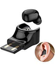 Single Ear Wireless Earbud Bluetooth Headset in-ear Mini Invisible Bluetooth Headphone Business Earphone with Mic 6-Hour Playtime Magnetic USB Charging Dock One-button Control Sweatproof Sport Earbuds