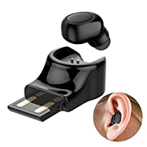 Wireless Earbud Bluetooth Headset in-Ear Invisible Earpiece Single Mini Bluetooth Headphone with Mic 6-Hour Play Time USB Charging Business Earphone Sport Earbudsfor Smartphone and Other Devices