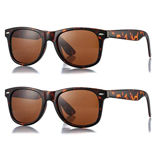 AZORB Classic Polarized Sunglasses Unisex Square Horn Rimmed Design (A91 Tortoise/Brown + Tortoise/Brown, 53)
