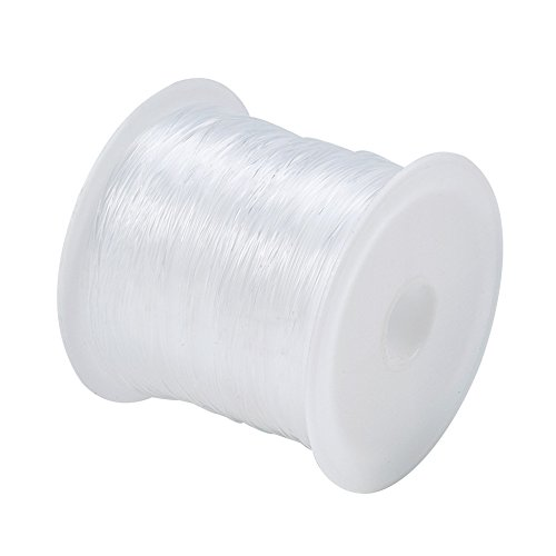 Pandahall 1Roll Transparent diy Jewelry Craft Beading Thread Nylon Wire Cord, Clear White (0.2mm, (0.2 Mm Wire)