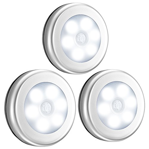VicTsing Motion Sensor Light, Battery-Powered LED Night Light, Stick-anywhere Closet Lights Stair Lights, Safe Lights for Hallway, Bathroom, Bedroom, Kitchen (White - Pack of 3) by VicTsing