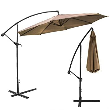 Delightful XtremepowerUS Deluxe 10u0027 Offset Patio Umbrella Off Set Outdoor Market  Umbrella   Tan