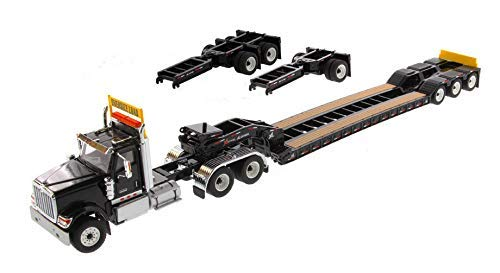 Diecast Masters International HX520 Tandem Tractor Black with XL 120 Lowboy Trailer 1/50 Diecast Model ()