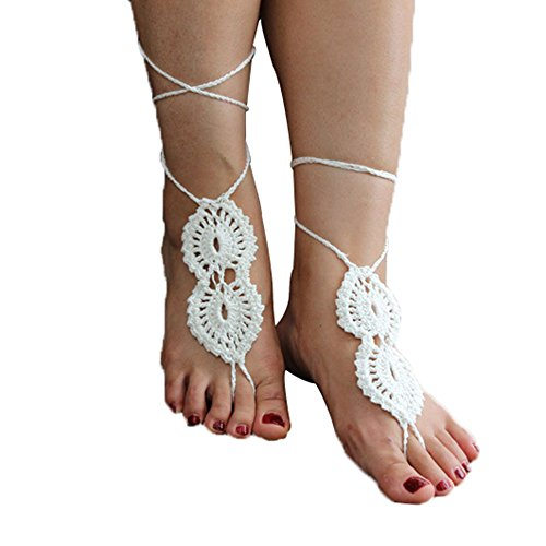 Crochet Black Barefoot Sandals,Beach Pool,Nude shoes,Foot jewelry,Footless sandles,Beach Wedding Jewelry,Yoga Chain,Anklet, Wedding shoes, Beach Wedding, Summer shoes, One Size Fits All (white)