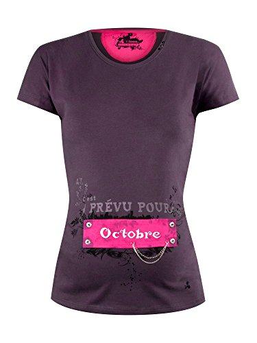 titoon® - Tee shirt de grossesse - C'est prévu pour Octobre - Gris, Manches amovibles courtes et longues
