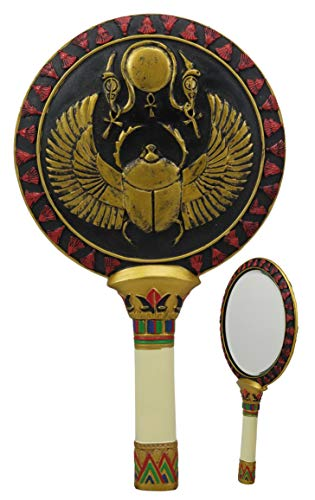Ebros Gift Ancient Egyptian Golden Winged Scarab with Ankh Sun Disc Hand Mirror 9.5
