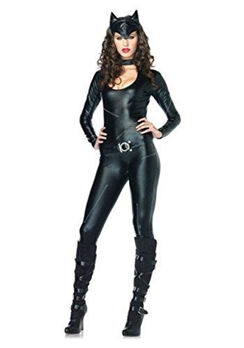 [Leg Avenue Women's Frisky Feline Costume Black X-Small] (Black Bodysuit Costume)