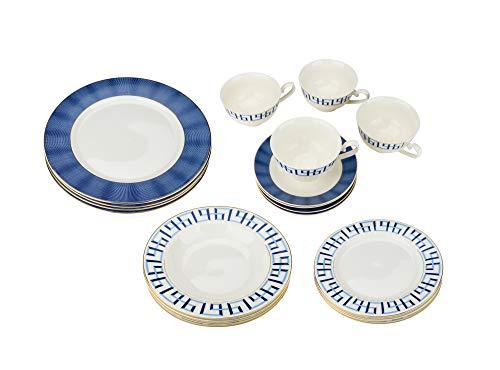 Joseph Seigh, 6719-20A, Bone Porcelain Dinnerware Set w/Novelty Pattern, Elegant Dinner Set, Dinner Plates, Soup Plates, Flat Plates, Tea Cups, Saucers, Set of 4