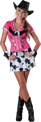 InCharacter Costumes Cowgirl Bling Costume, Pink/Black/White, (Cowgirl Costume At Home)