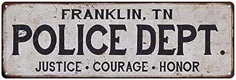 Amazon Franklin TN Police DEPT Home Decor Metal Sign Gift 6 X