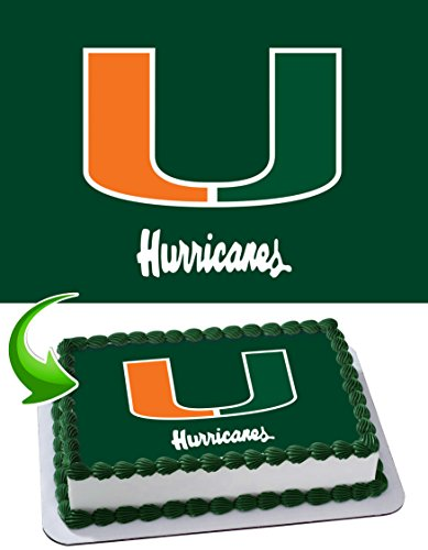 Miami Hurricanes, Go Canes! Edible Image Cake Topper Icing Sugar Paper A4 Sheet Edible Frosting Photo Cake 1/4 ~ Best Edible Image for cake - Miami Canes Hurricanes
